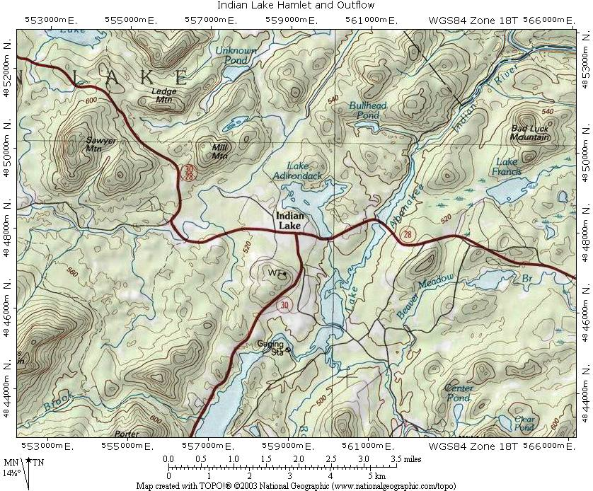 Indian Lake Topo Map, small