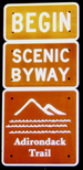 Begin the Adirondack Trail Scenic Byway Sign in Fonda